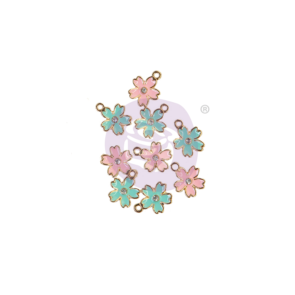 Sugar Cookie Christmas Collection Enamel Charms - Flower - 9 pcs