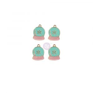 Sugar Cookie Christmas Collection Enamel Charms - Snow Globe - 4 pcs