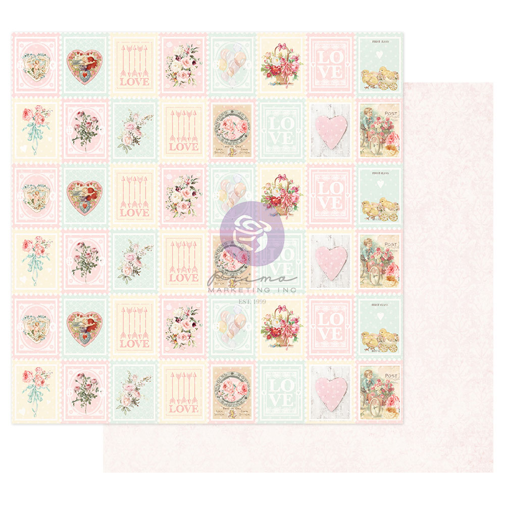 Magic Love Collection 12x12 Sheet - Love Stamps - 1 sheet w/ foil details