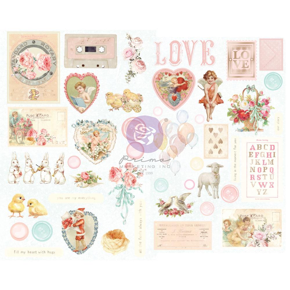 Magic Love Collection Chipboard Stickers - 44 pcs w/ foil details