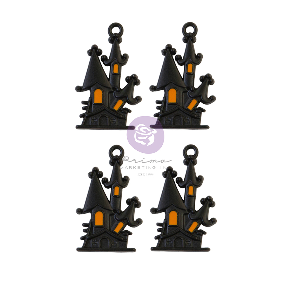 Thirty-One Collection Metal Embellishments - Matte Haunted House - 4 pcs