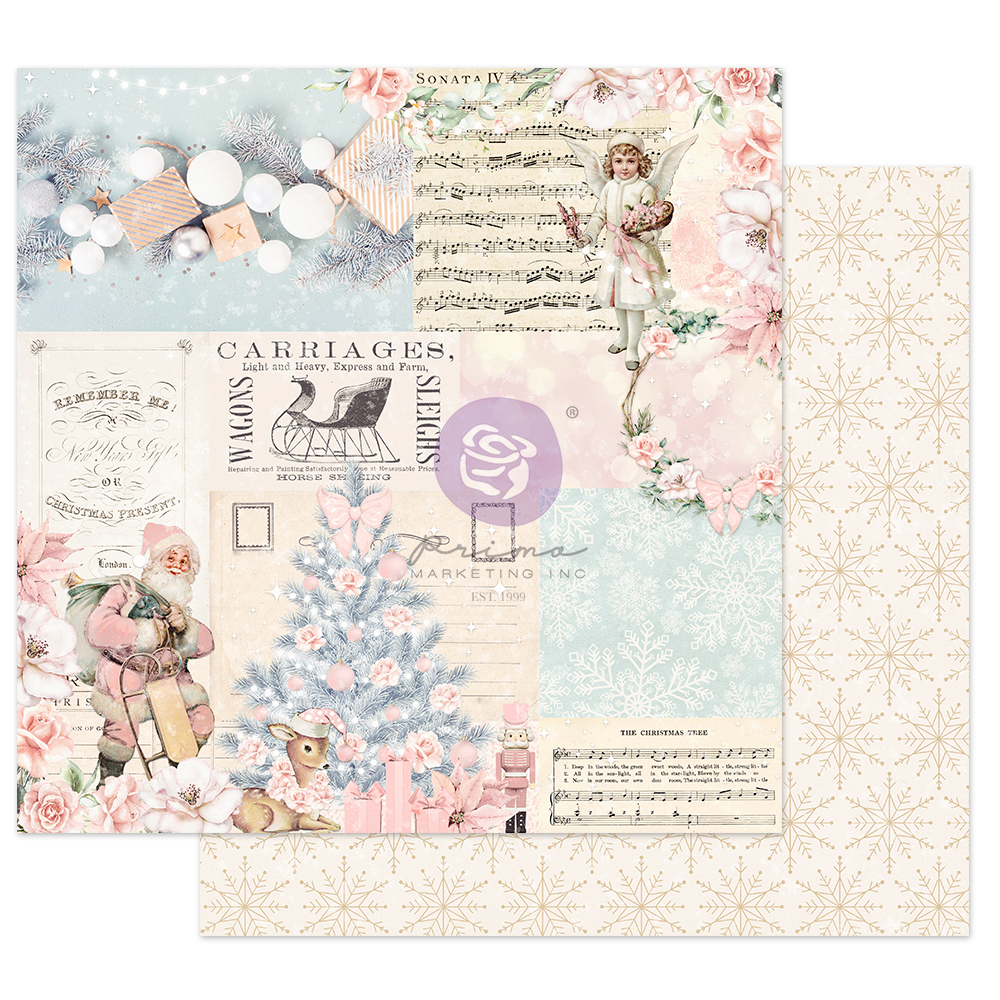 """Christmas Sparkle Collection 12x12 Sheet - Icy Blue Christmas - 1 sheet, 12""""x12"""" w/ foil detail"""