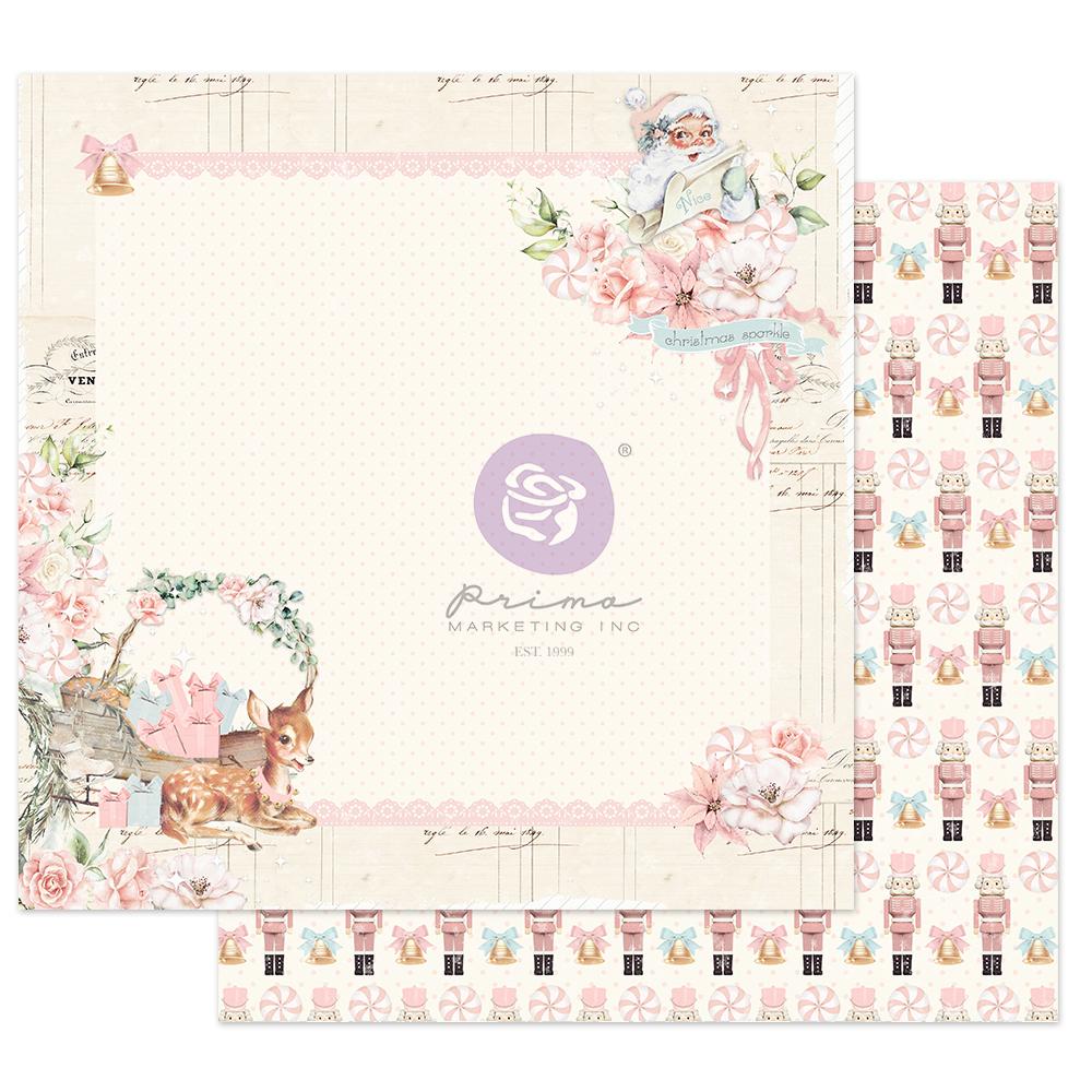 "Christmas Sparkle Collection 12x12 Sheet - Pink Peppermint - 1 sheet, 12""x12"" w/ foil detail"