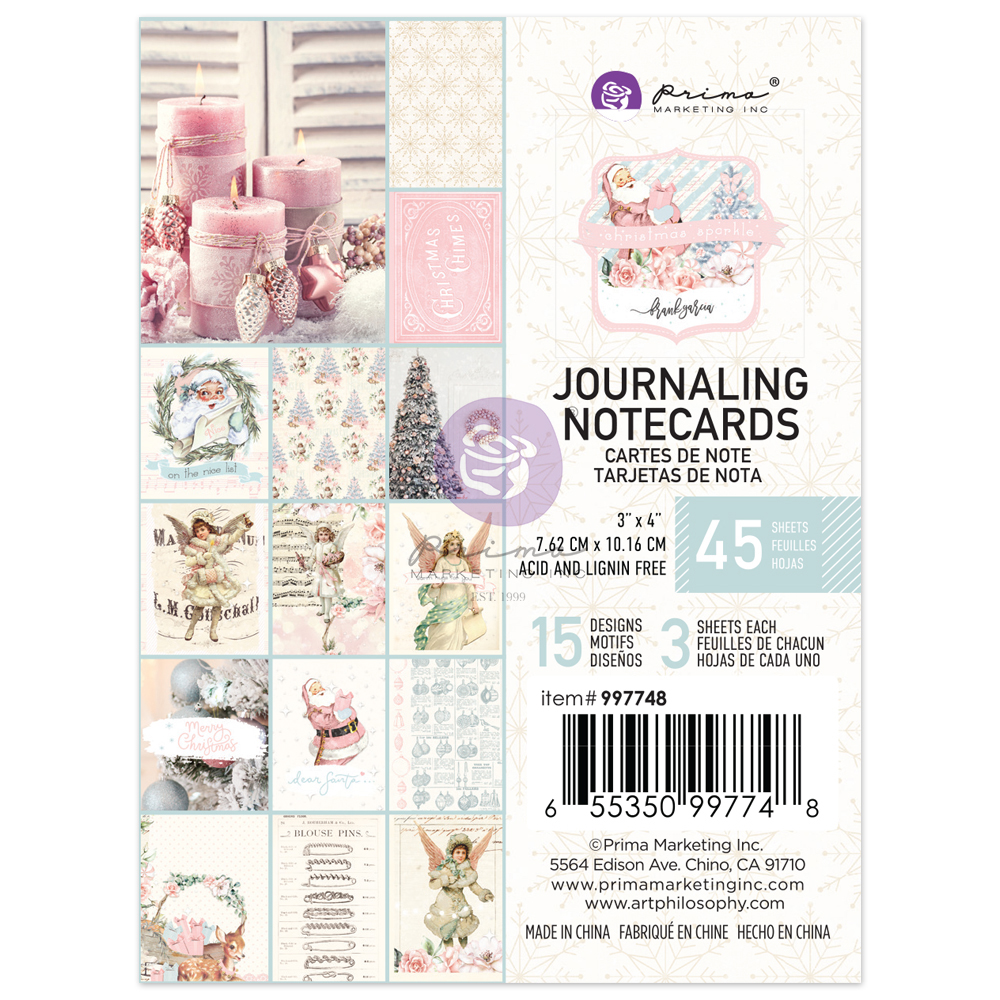 Christmas Sparkle Collection 3X4 Journaling Cards - 45 sheets