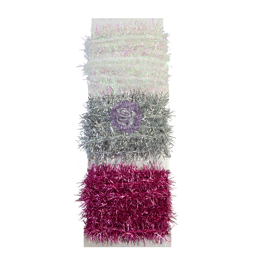 Christmas Sparkle Collection Tinsel Trim - 3 colors x 2 yds each