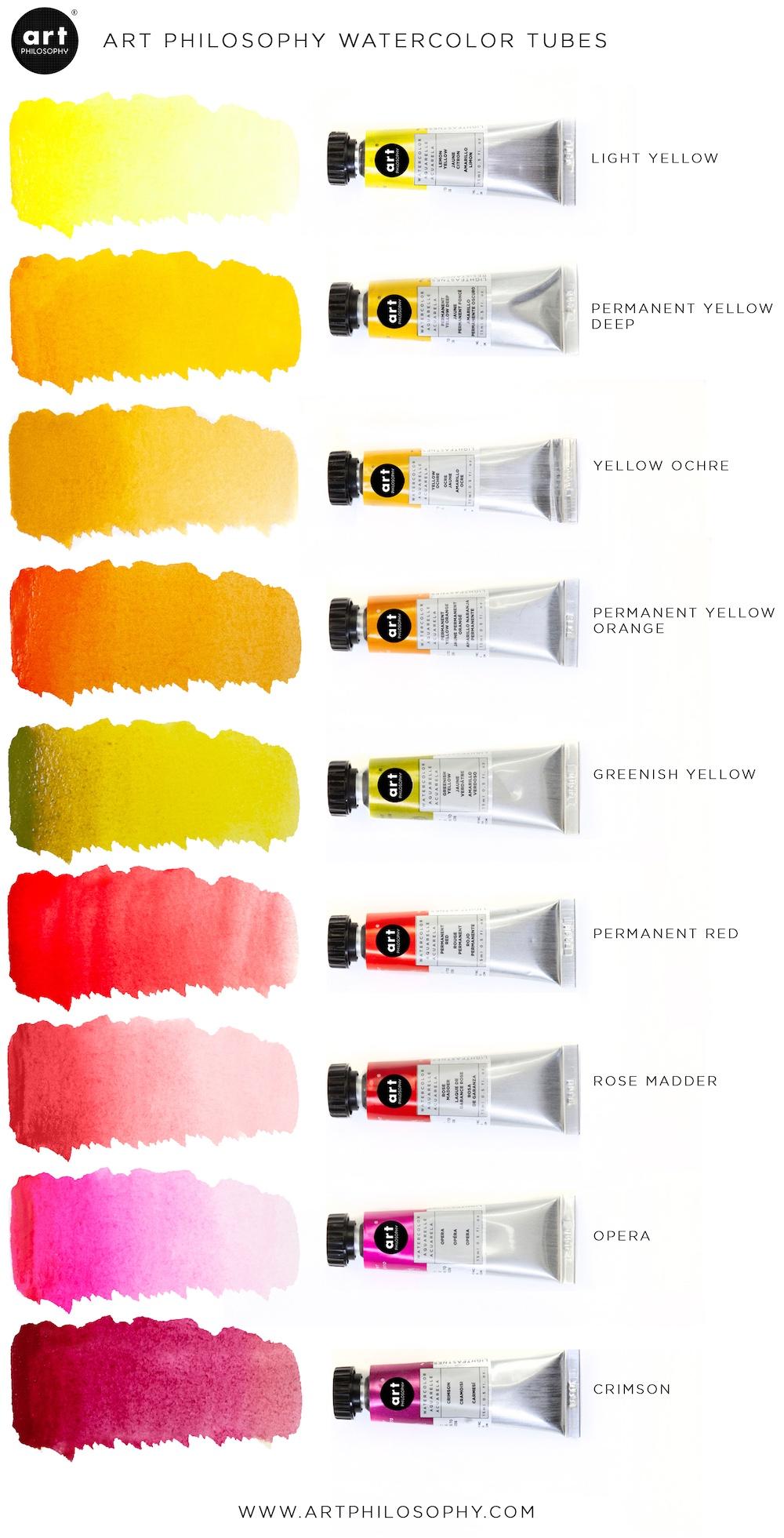 Art Philosophy® Artist Grade Watercolor Tubes - Permanent Yellow Deep