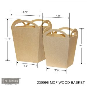 """*Limited Edition* Home Décor MDF Wood Baskets - set of 2 - 1 @ 11.75""""x8.75""""x6.5"""", 1 @ 10""""x7.25""""x5.5"""""""